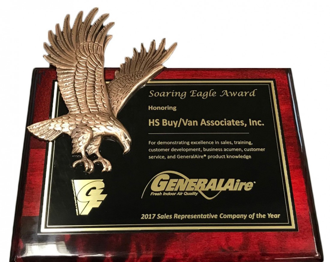 "General Filters, Inc. Presents the 2017 ""Soaring Eagle"" Award to HS/Buy Van Associates - Stay in touch with generalaire by reading the latest news, announcements and articles with general filters - 2018_Soaring_Eagle_Award"
