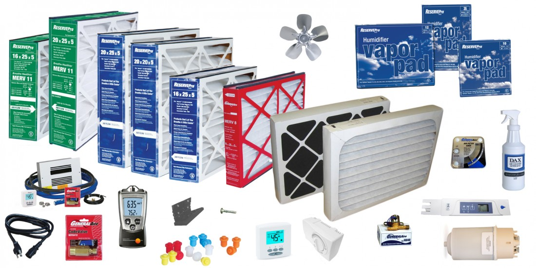 Shop: Air Cleaner Filters & Humidifier Parts | General Filters - Website_Shop_IAQ_Parts_Photo
